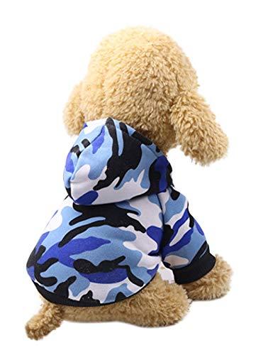 Jueshanzj Heimtierbedarf Leicht Hundmantel Herbst-Winter Fleckenbeständig Drucken Hundekleidung Plus Kaschmir Blau XL