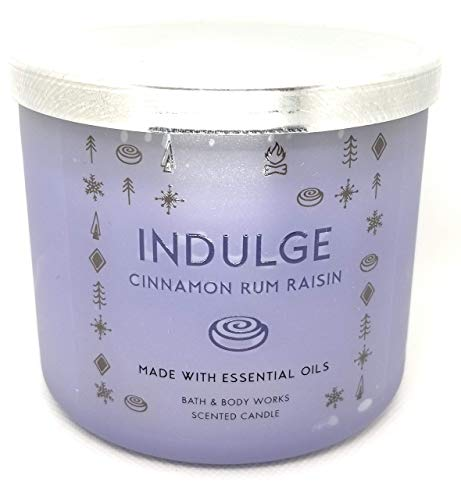 Bath and Body Works White Barn 3 Wick Indulge Candle Cinnamon Rum Raisin 14.5 Ounce With Essential Oils