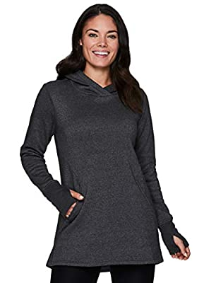 RBX Active Women's Long Sleeve Drawstring Cowl Neck Tunic Pullover Sweatshirt with Pockets F19 Charcoal M