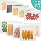 Sacchetti Riutilizzabili per Alimenti,Senza BPA/Extra Thick/Doppio Zip/Igienici e a Tenuta stagna Silicone per Alimenti Storage Bag per conservare Sandwich Snack alla Frutta, Verdura, Carne (10PCS)