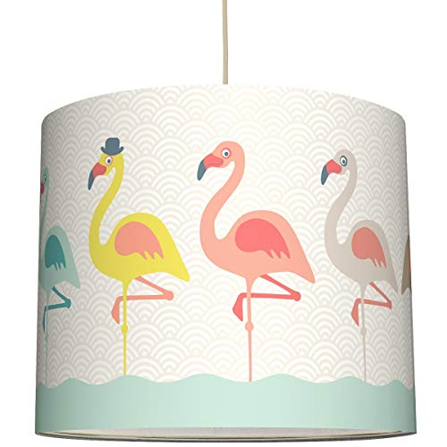 anna wand Hängelampe Funny Flamingos – Lampenschirm für Kinder/Baby Lampe mit Flamingos – Sanftes Kinderzimmer Licht Mädchen & Junge – ø 40 x 34 cm