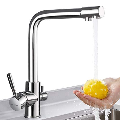 BONADE Grifo Cocina Osmosis Grifo para Fregadero 3 Vias Filtro de Agua Grifo de Cocina Giratorio 360° con 2 Salidas de Agua Grifo Cocina de Latón Cromado