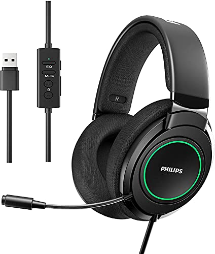 Philips Stereo Headphones, USB Computer Gaming Headset with Microphone, 7.1 Surround Sound, Comfort Fit Wired Headphones with RGB LED Lighting