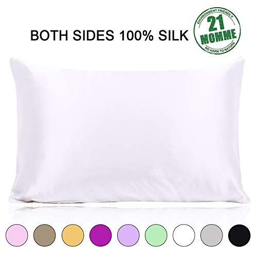 Ravmix 100% Silk Pillowcase for Hair and Skin with Hidden Zipper, Both Sides 21 Momme Mulberry Silk, 1PCS, Standard Size 20×26inches, Pure White
