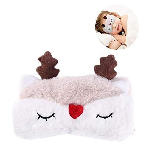 Jiexue Cute Animal Schlafmaske Weiche Rentier-Augenmaske Leichte Augenabdeckung für Kinder Erwachsene
