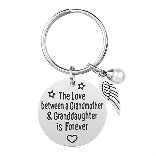 Grandma Gift from Granddaughter - Stainless Steel Grandmother Keychain Jewelry, The Love Between Grandmother & Granddaughter is Forever, Gifts for Mother's Day (Grandma & Granddaughter)
