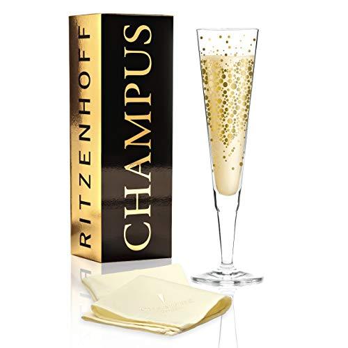 RITZENHOFF Champus Champagnerglas von Daniela Melazzi, aus Kristallglas, 200 ml, mit edlen Goldanteilen, inkl. Stoffserviette