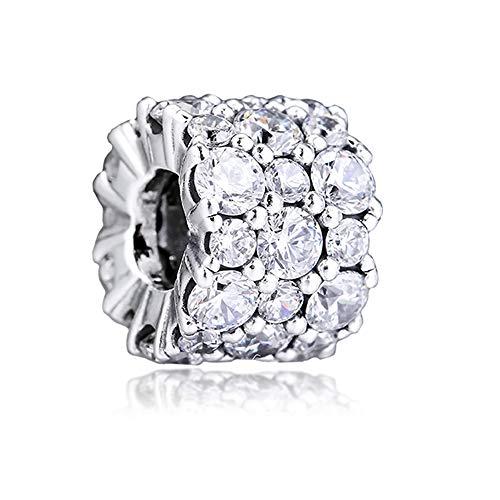 PANDOCCI 2019 Perle di Scintillio Trasparente Invernale Argento 925 Fai da Te Adatto per Gioielli Pandora Originali con ciondoli bracciali