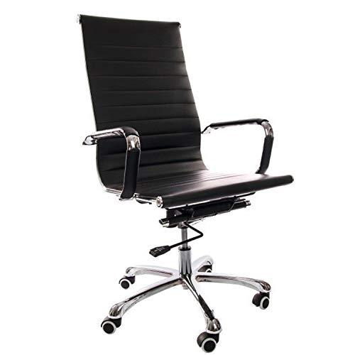 Vivol Madrid Schreibtisch Stuhl Kunstleder Schwarz | Design Bürostuhl Ergonomisch | Bürostuhl 120 kg | Drehstuhl mit Rollen und Armlehnen