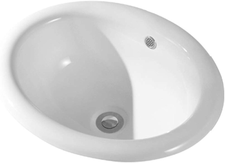 Wash Basin, Ceramics, Oval Half Embedded Above Counter Basin (Size   510mm)
