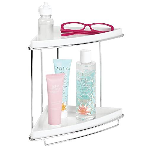 mDesign Baldas para baño en esquina – Organizador para baño con pie y dos niveles para guardar champú, gel, toallas y más – Estanterías de ducha inoxidables de metal y plástico – plateado/blanco