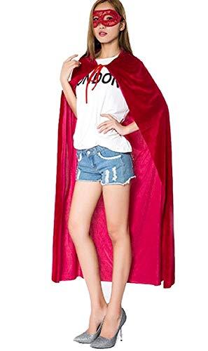 KIRALOVE Capa para Disfraz - Diablo - Disfraces de Mujer - Halloween - Carnaval - Demonio - secta - Larga - Capucha - Rojo - Adultos - Hombre - niños - Idea de Regalo Original