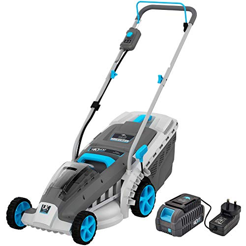 swift EB137CD2 40V Cordless Lawn Mower with 37cm Cutting Width, Lightweight Battery Rotary Lawnmower with 40 Litre Grass Box, Central Height Adjust & Foldable Handles (Battery & Charger Included)