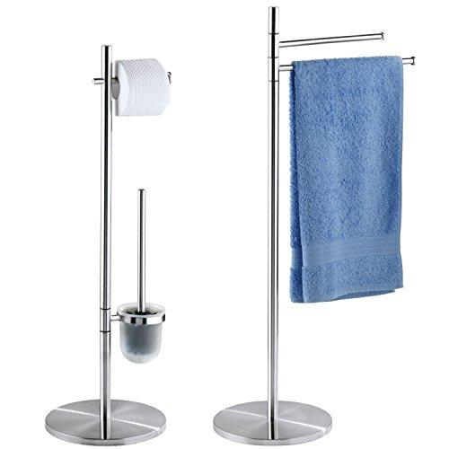 WENKO PIENO SET - Handtuchständer 2 Arme + Stand WC-Garnitur, Edelstahl rostfrei