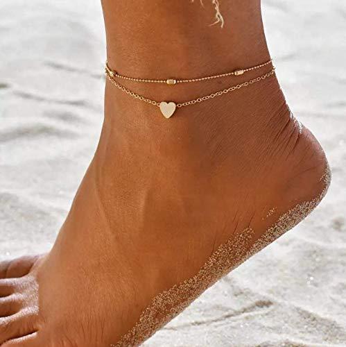 Yean Boho gelaagde enkel hart voet ketting strand voet sieraden voor vrouwen en meisjes Eén maat Goud