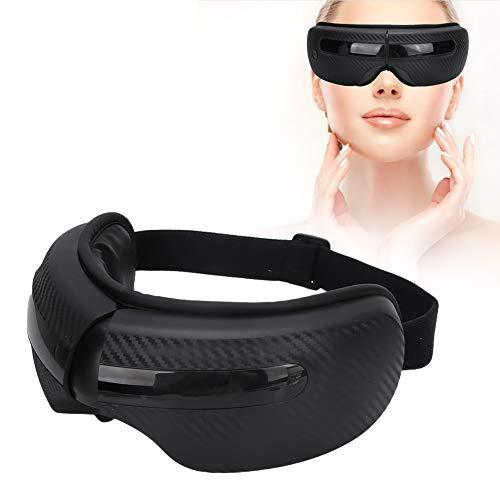 Augenmassagegerät mit Hitze, heißem Druckluftdruck Augenpflege Entspannende Massage, Musik-Augentherapie-Massagegerät zur Linderung von Augenbelastungen Augenringe Augentaschen Trockenes(Schwarz)
