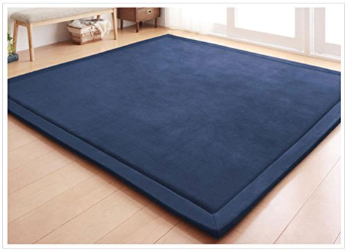 Seamido Coral Fleece Mat Sponge Carpet Children Baby Crawling Pad Bedroom Living Room Tatami-Dark Blue-1.5×2m