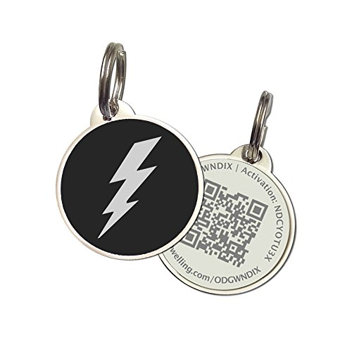 PetDwelling Advanced Black Lightning QR Code Pet ID Tag Links to Online Profile/Emergency Contact/Medical Info/Google Map Location Stamp