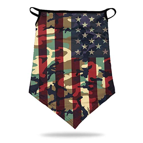 Camo USA Flag Sports Face Bandana Neck Gaiter with Ear Loops Reusable Triangle Mask Scarf Cycle Balaclava