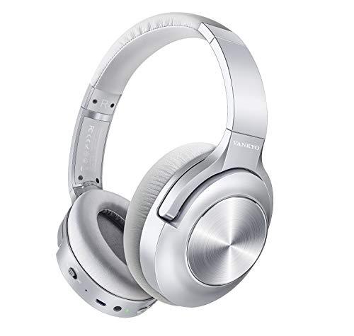 ヘッドホン ワイヤレス C750(2色) ノイズキャンセリングヘッドホン ANCノイズキャンセルヘッドホン 超軽量 Bluetooth 5.0 最大30時間連続再生2台デバイスと同時に接続可能 有線/無線兼用 マイク付通話可能 CVC8.0通話ノイズキャンセリング搭載 iPhone/iPad/Android対応 密閉型ヘッドセット ワンーキョー (シルバー)