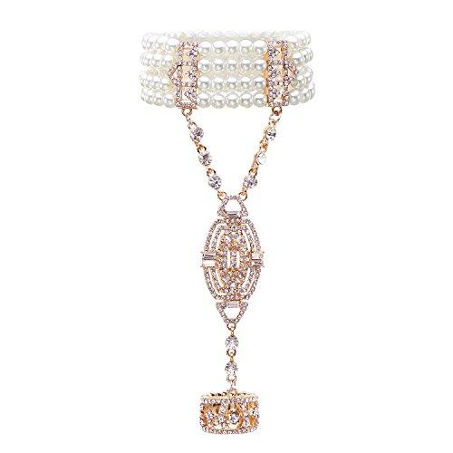 Metme 1920s Bracelets for Women,1920s Gatsby Accessories Imitation Pearls Rhinestone Bracelet Adjustable Ring Set