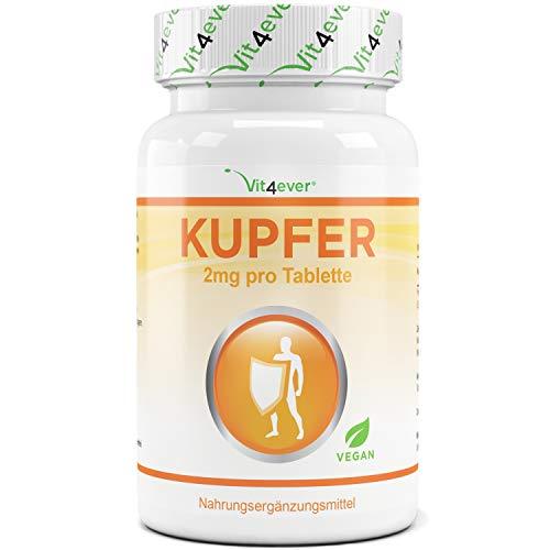Kupfer - 2 mg elementarem Kupfer pro Tablette - 365 Tabletten - Vegan - Laborgeprüft - Kupfergluconat - Vit4ever