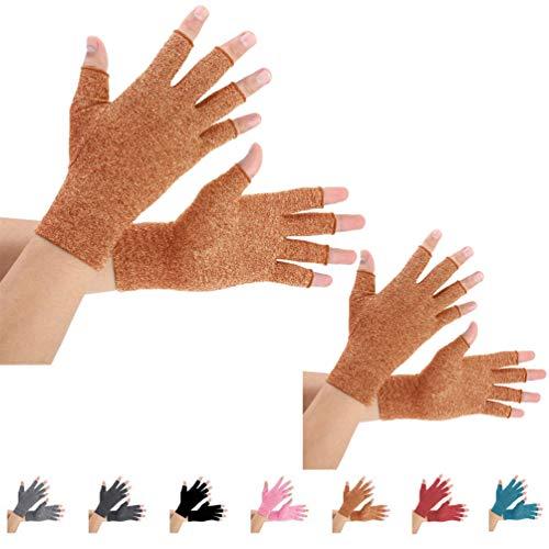 2 pares de guantes de artritis, guantes de compresión de apoyo y calor para manos, alivian el dolor de la reumatoide, la osteoartritis, el...