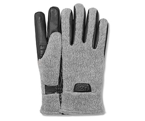 UGG Mens Sherpa Glove with Tasman Tape, Light Grey, Size Large