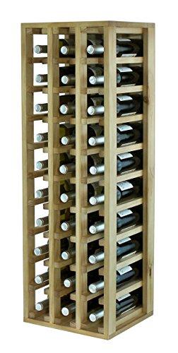 Expovinalia Botellero Especial con 3 módulos y Capacidad para 30 Unidades Madera Rustico 36x32x105 cm