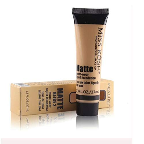 Miss Rose Matte Wear Liquid Foundation, 37ml Moisturizing Concealer Face Cream (BEIGE 3)