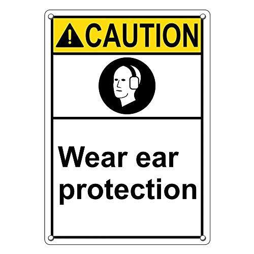 Vertikale Ansi Warnschilder für Gehörschutz und Gehörschutz aus Aluminium für Privathaushalt, Hof, lustiges Geschenk, 20,3 x 30,5 cm