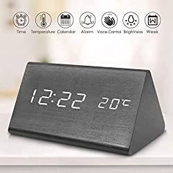 Wooden Digital Alarm Clock, 2020 Updated Voice Command Electric LED Bedside Travel Triangle Alarm Clock, Display Time Date Temperature for Office & Home