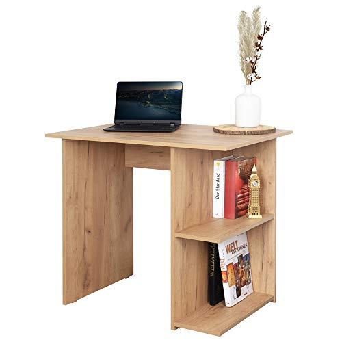 RICOO WM089-EG Escritorio pequeño 82x76x60cm Mesa Ordenador Organizador Oficina Muebles de hogar Buro PC Gaming Secreter Madera Roble marrón