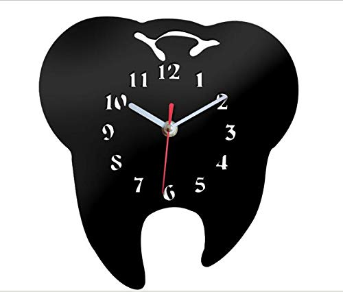 Easyinsmile DIY Tooth Shaped Wall Clock 3D Creative Silent Arcylic Mirror Wall Clocks for Dental Clinic Office Decoration and Home Decor (Black)