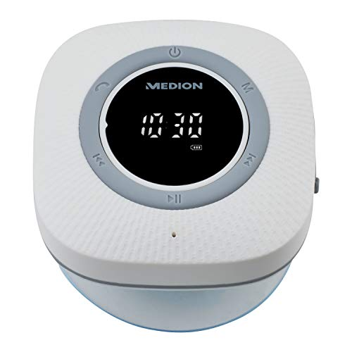MEDION P66096 Duschradio mit Bluetooth (Badradio, UKW Radio, Saugnapf, LED-Display, IPX6 Wasserdicht, integrierter Akku) weiß