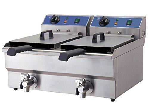 Professionele dubbele friteuse, chroom-nikkelstaal, met aftapkraan, 6500 watt, 20 liter; WF-102V GGG