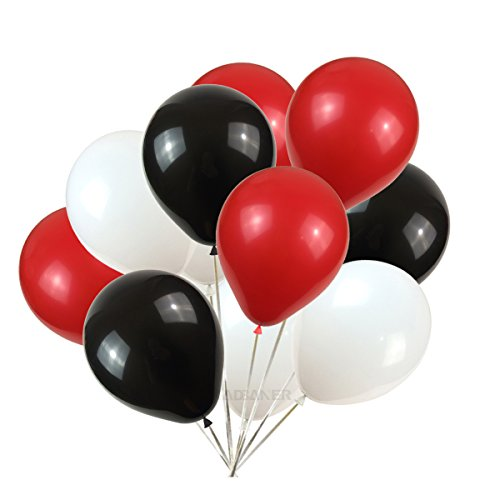 Party Balloons,100-Pack,12-Inch, black White Red