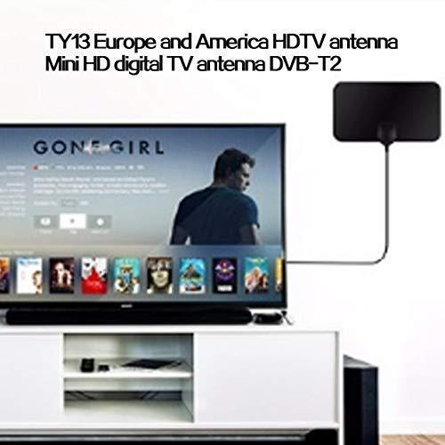 Kongqiabona-UK TY13 HDTV Antena de TV de Interior Receptor de señal Amplificador Antena de TV Digital Alcance de 50 Millas Mini DVB-T2 Antena de HDTV