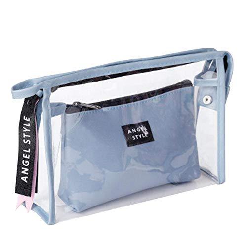 Gipinwu Trousse de Toilette en PVC Transparent Deux Pièces PU Voyage Portable Trousse de Toilette 25*17*7cm Noir, bleu (Bleu) - VVT28V2BYK