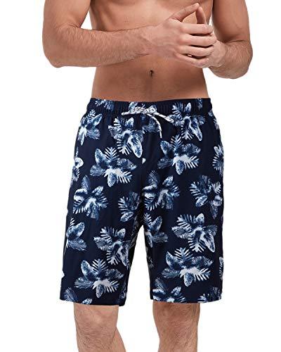 Malavita Mens Swim Trunks Mens Bathing Suits Quick Dry Swim Shorts with Mesh Lining(White Leaf Flower Large(Waist:31.5'-35')