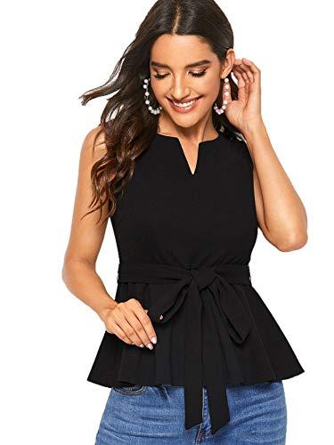 Verdusa Women's Elegant Sleeveless Notch Neck Peplum Blouse Belted Top Black XL