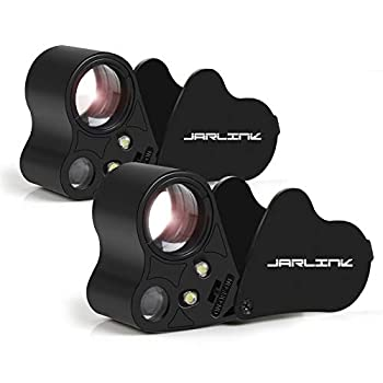 JARLINK 2 Pack 30X 60X Illuminated Jewelers Eye Loupe Magnifier Foldable Jewelry Magnifiers with Bright LED Light for Gems Jewelry Coins Stamps etc  Black