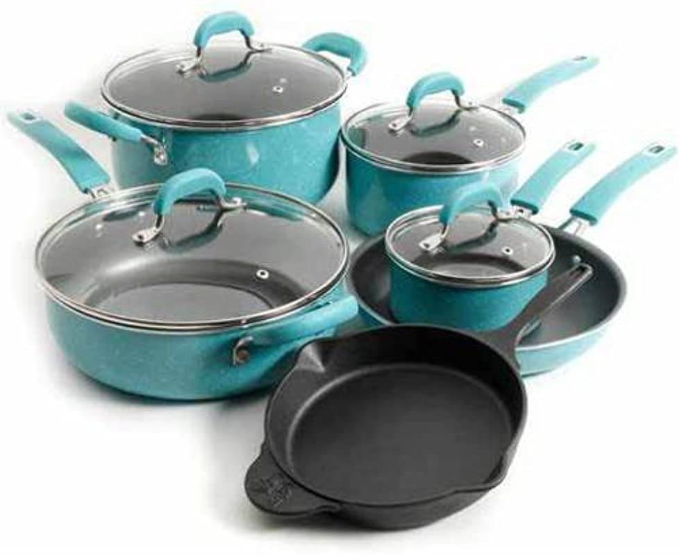 The Pioneer Woman Vintage Speckle 10 Piece Non Stick Pre Seasoned Cookware Set