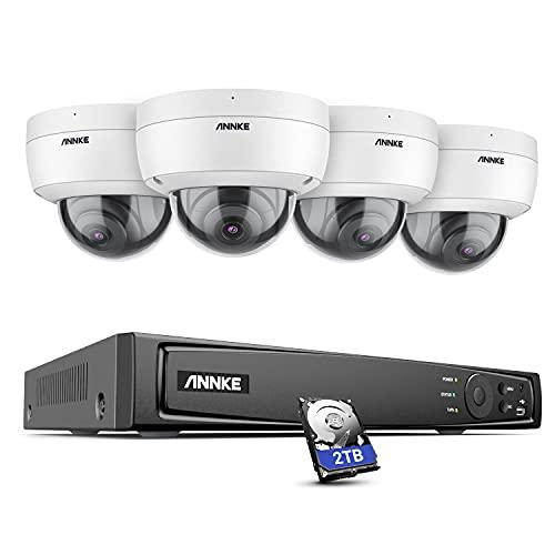 ANNKE H800 Dome 8MP 4K Ultra HD PoE Système de Caméras de Sécurité, NVR H.265+ avec Caméras 4K HD, Étanche IP67, Résistant au Vandalisme IK10, Audio, Support Carte TF 256GB