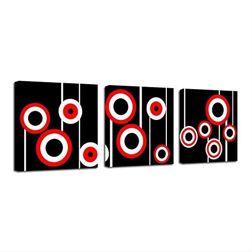 IWINO Hd Canvas Art Schilderij Voor Woonkamer Muurdecoratie 3 Stuks Rirkel Ring Rood Zwart
