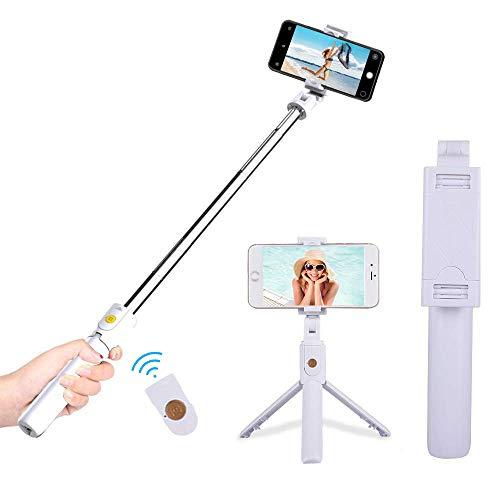 FAPPEN Bastone Selfie Treppiede, 3 in 1 Selfie Stick Bluetooth Estensibile Rotazione a 360 ° con Telecomando per iPhone XS/X / 8 / Samsung S9 / S8 / Huawei P20 / P10 e Altri Android e iOS (B-White)