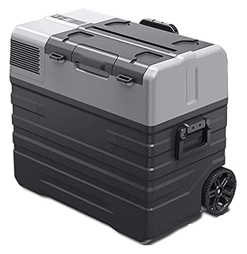 XBR Nevera para Acampar, Nevera para Coche Caja con Ruedas Congelador portátil portátil 12V / 24V / 220 Fuente de alimentación Camiones y hogares adecuados (Color: Negro, Tamaño: 42L (689x412x465mm))