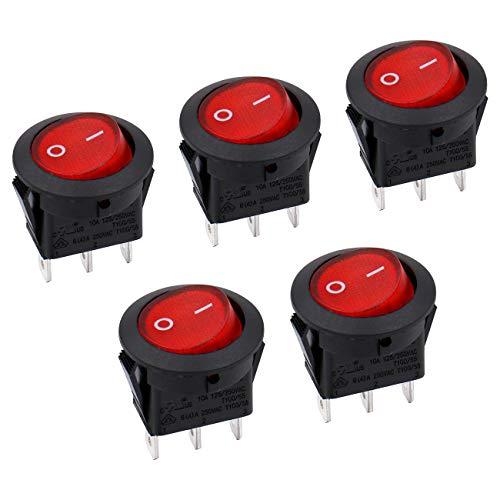 Heschen Interruptor basculante redondo rojo encendido y apagado SPST 3 terminales 10 A 250 VAC UL VDE 5 unidades