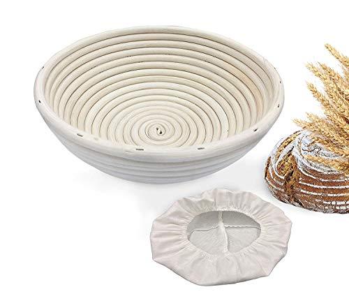 Banneton - Cestas para pan a prueba de pan, forma de bastón de mimbre para masa fermentada con rascador de masa y forro