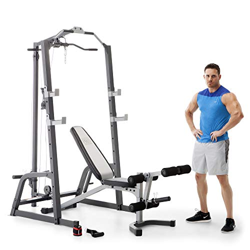Marcy Pro Deluxe Cage System with Weightlifting Bench All-in-One Home Gym Equipment PM-5108